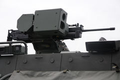 Remote weapon station. A photo taken on a machine gun mounted on a remote weapon station of an armored fighting vehicle Stock Image