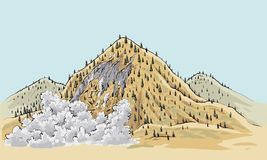 Remote Wilderness Landslide. A cartoon landslide on a small mountain in the remote wilderness Royalty Free Stock Images