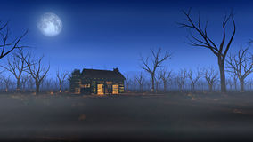 Remote wooden cabin in misty landscape with dead trees at moonlight. Royalty Free Stock Photo