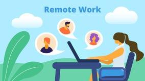 Remote Work Horizontal Banner. Girl Freelancer royalty free illustration