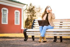 Remote work in outdoor office stock photography