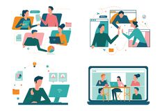 Remote working concept set. Telework and global outsourcing,