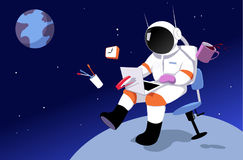 Remote workplace. An astronaut working in on a laptop in zero gravity, surrounded by office tool, away from Earth as a metaphor for a remote job, EPS 8 vector Royalty Free Stock Image