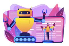 Remotely operated robots concept vector illustration. Engineer controlling big robot with remote technology. Remotely operated robots, robot control system stock illustration