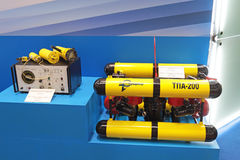 Remotely operated underwater vehicle. SAINT-PETERSBURG - JUN 30: Remotely operated underwater vehicle and small-sized acoustic complex for drivers at the 5th royalty free stock photo
