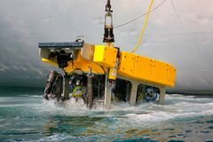 Remotely operated underwater vehicle ROV. Lifting on board of Russian carrier vessel after the working in abyss royalty free stock image