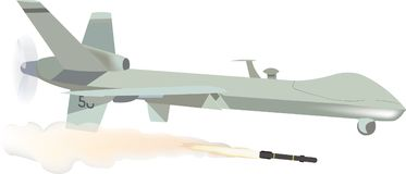 Remotely piloted aircraft with missile.  royalty free illustration