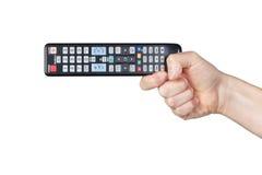 Remoto van TV in hun handen. Stock Foto's