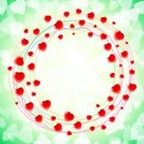 Remous circulaire rond d'amour de coeur autour de vert de fond Photos libres de droits
