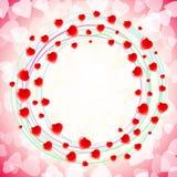 Remous circulaire rond d'amour de coeur autour du rouge de fond Image libre de droits
