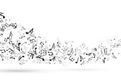 Remous de notes de musique Vague avec l'harmonie musicale de clé de barre de notes, vecteur débordant de clef de triple de person illustration de vecteur
