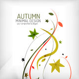 Remous, usine et feuilles d'automne, minimaux Photographie stock libre de droits