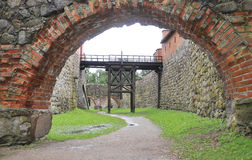 Removable Bridge of Medieval Fort Trakai in Lithuania Royalty Free Stock Photography