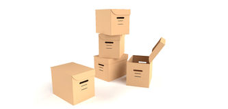 Removal 2. Five cardboard boxes used for removals or in office Royalty Free Stock Images