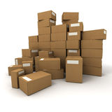 Removal boxes. Piles of cardboard boxes on a white background Royalty Free Stock Photo