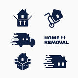 Removal logo. Set of home removal logo templates. Vector illustration Stock Photography