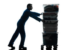 Removal man with boxes silhouette Royalty Free Stock Photos