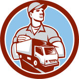Removal Man Moving Delivery Van Circle Retro. Illustration of a removal man delivery guy with moving truck van set inside circle on isolated background done in Stock Image