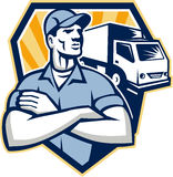 Removal Man Moving Delivery Van Crest Retro. Illustration of a removal man delivery guy with moving truck van in the background set inside half circle done in Stock Photos