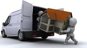 Removal men loading a van. 3D render of removal men loading a van Royalty Free Stock Photo