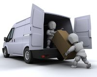 Removal men loading a van. 3D render of removal men loading a van Royalty Free Stock Photography