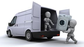 Removal men loading a van Stock Image