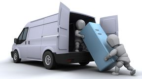 Removal men loading a van. 3D render of removal men loading a van Royalty Free Stock Photos
