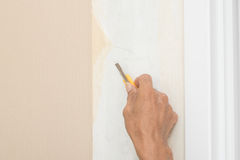 Removal of wallpaper. Stock Photos