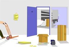 Removalist Van fora do escritório Fotografia de Stock Royalty Free