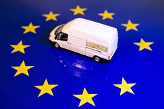 UK Removal From The EU Flag. A removals van on the EU flag to remove the UK's yellow star royalty free stock image