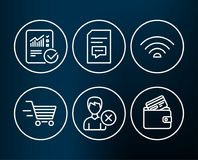 Remove account, Comments and Checked calculation icons. Wifi, Delivery shopping and Debit card signs. Set of Remove account, Comments and Checked calculation royalty free illustration