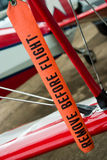 Remove Befora Flight. Remove before flight aviation safety tape royalty free stock photo