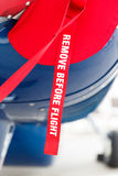 Remove before flight on the aircraft fuselage Royalty Free Stock Photography