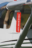 Remove before flight ribbon. On a cessna 172 Stock Photos