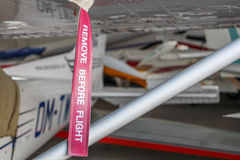 Remove before flight ribbon Royalty Free Stock Photo