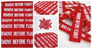 Remove before flight ribbons Stock Image