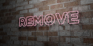 REMOVE - Glowing Neon Sign on stonework wall - 3D rendered royalty free stock illustration. Can be used for online banner ads and direct mailers Stock Photography