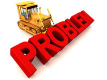 Remove problem by bulldozing. Removing a problem by forceful bulldozing, bulldozer moving text on white background Stock Image