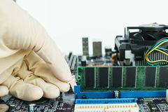 Remove RAM from socket. Remove random-access memory from socket Stock Images