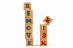 Remove Risk word written on cube shape. Remove Risk word written on cube shape wooden surface isolated on white background Stock Photo