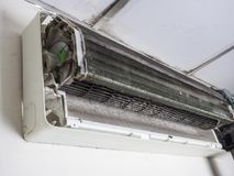 Removed cover of air conditioner and Dirty squirrel cage fan, ho royalty free stock photo