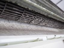 Removed cover of air conditioner and Dirty squirrel cage fan. Home air conditioner service Stock Image