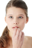 Removeing her make-up Royalty Free Stock Image