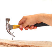 Removing Bent Nail Royalty Free Stock Image