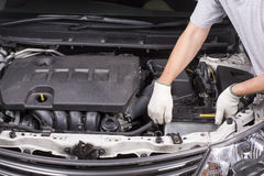 Removing the car battery Stock Photo