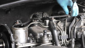 Removing diesel fuel injector return line stock video