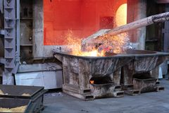 Removing dross on melted metal. Skimming melted aluminum for removing the dross before casting. Aluminum foundry works showing an open furnace royalty free stock images