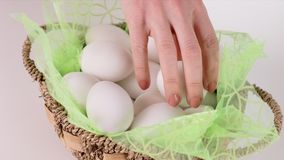 Removing Egg for Dying stock footage