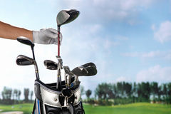 Removing golf club from bag Royalty Free Stock Photo