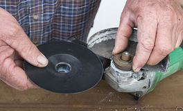 Removing Metal Bush From Angle Grinder. Stock Image